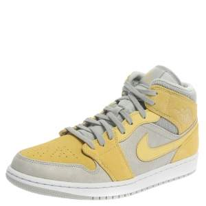 Air Jordan 1 Mid Nike Yellow/Grey Leather and Suede High Top Sneakers Size 44.5