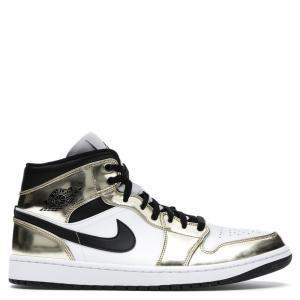 Nike Jordan 1 Mid Metallic Gold Black White Sneakers Size EU 43 US 9.5Y