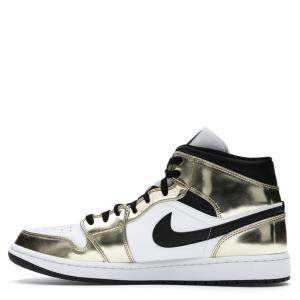 Nike Jordan 1 Mid Metallic Gold Black White Sneakers US Size10.5 EU Size 44.5