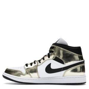 Nike Jordan 1 Mid Metallic Gold Black White Sneakers US Size10 EU Size 44