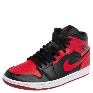 Nike Jordan Black/Red Leather and Fabric 1 Mid Sneakers Size 43