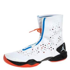 Air Jordan White/Blue Leather and Mesh XX8 Locked and Loaded High Top Sneakers Size 45.5