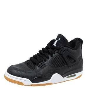 Jordan Black Leather '4 Retro Laser' Lace Up Sneakers Size 43