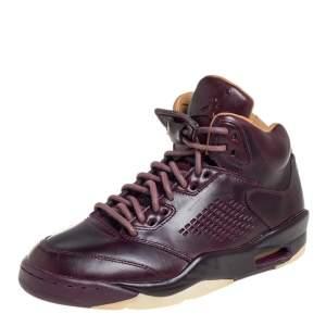 Air Jordan Burgundy Leather Air Jordan 5 Retro Premium High Top Sneakers Size 40