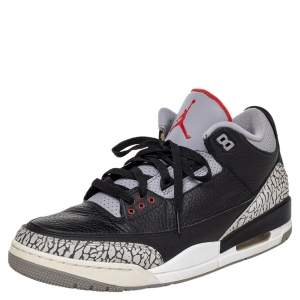 Jordan Black Leather Air Jordan 3 Retro OG High Top Sneakers Size 46