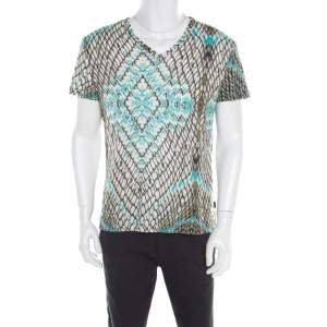 Just Cavalli Multicolor Snakeskin Print Cotton Blend V Neck T- Shirt XXL