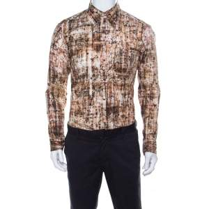 Just Cavalli Brown Abstract Print Stretch Cotton Button Front Shirt L
