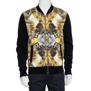 Just Cavalli Black Cotton Duel Print Fleece Zip Jacket S
