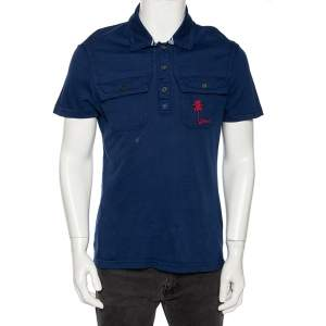 Just Cavalli Blue Cotton Palm Tree Embroidered Polo T Shirt XL