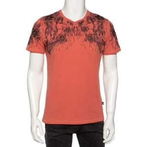 Just Cavalli Salmon Pink Printed Cotton Short Sleeve T-Shirt M