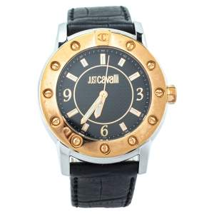 Just Cavalli Black Two Tone Stainless Steel Leather R7251161025 Men's Wristwatch 42mm