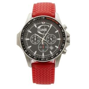 Just Cavalli Black Stainless Steel Rubber R7271693225 Men's Wristwatch 44 mm