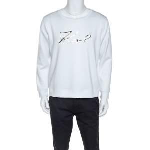 Karl Lagerfeld White Logo Applique Scuba Jersey Sweatshirt L