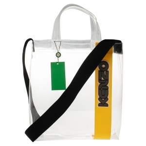 حقيبة يد توتس كينزو شوبر بلاسيتك مشمع أصفر/شفاف بشعار الماركة