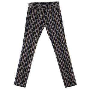 Kenzo Black Neon Plaid Stretch Cotton Denim Skinny Trousers XS