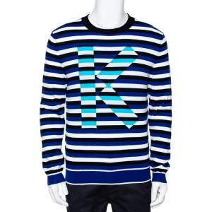 Kenzo French Blue Striped Intarsia Logo Knit Jumper M