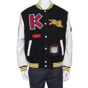 Kenzo Black Wool Blend Logo-Patch Leather Varsity Jacket M