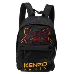 Kenzo Black Nylon Embroidered Tiger Backpack