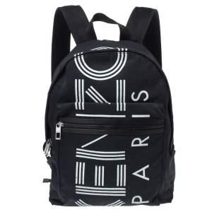 Kenzo Black Nylon Logo Backpack