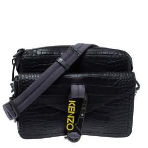 حقيبة كروس كينزو هيكر جلد نقشة التمساح أسود