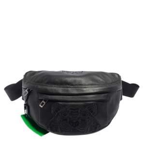 Kenzo Black Leather Tiger Embroidered Belt Bag