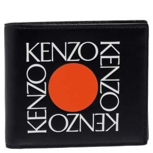 Kenzo Black Leather Sqaure Logo Bifold Wallet