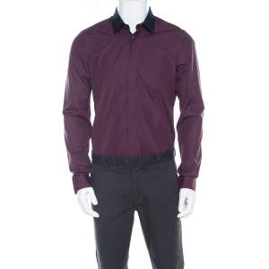 Kenzo Purple Cotton Contrast Collar Slim Plus Fit Button Front Shirt L