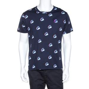 Kenzo Navy Blue Printed Cotton Logo Detail Crew Neck T-Shirt L