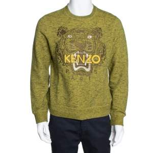 Kenzo Green Knit Tiger Motif Crew Neck Jumper M