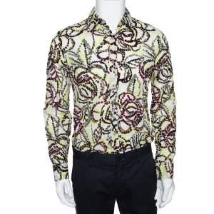 قميص كينزو بأكمام طويلة قطن مطبوع متعدد الألوان مقاس وسط (ميديوم)