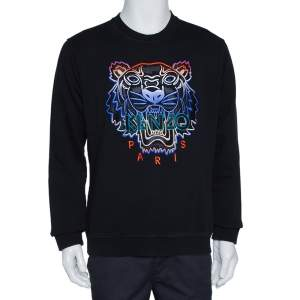 Kenzo Black Tiger Embroidered Cotton Crew Neck Sweatshirt M