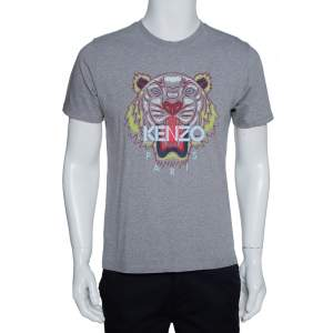 Kenzo Grey Cotton Tiger Motif Print Crew Neck T Shirt M