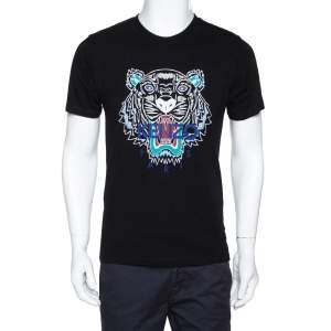 Kenzo Black Tiger Print Cotton Crew Neck T-Shirt M
