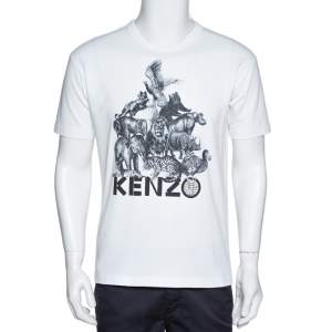 Kenzo La Memento Collection White Cotton Animal Print T-Shirt S