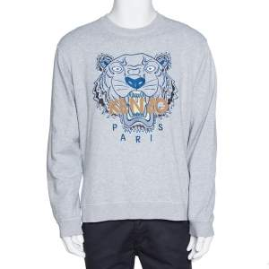 Kenzo Grey Cotton Logo Tiger Embroidered Sweatshirt XL