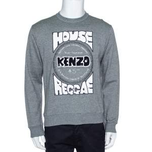 Kenzo Grey Melange Knit House Of Reggae Sweatshirt M