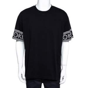 Kenzo Black Cotton Jersey Logo Cuff Print T-Shirt XL