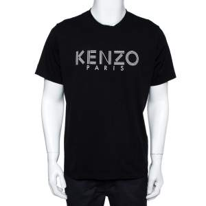 Kenzo Black Logo Print Cotton Crew Neck T-Shirt XL