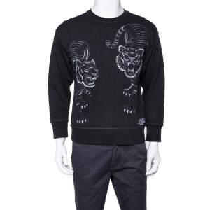 Kenzo Black Knit Tiger Embroidered Crewneck Sweatshirt M
