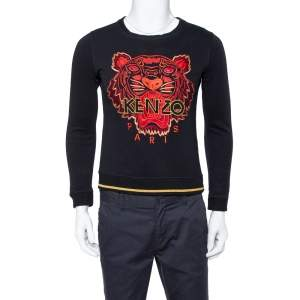 Kenzo Black Cotton Tiger Logo Embroidered Sweatshirt M