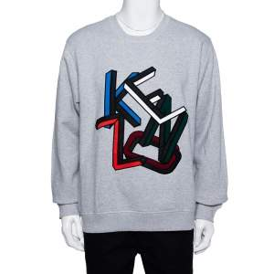 Kenzo Grey Cotton Letter Crewneck Sweatshirt XL