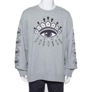 Kenzo Grey Cotton Evil Eye Embroidered Crewneck Sweatshirt XXL