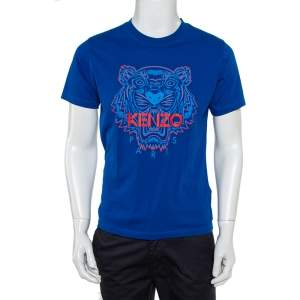 Kenzo Royal Blue Tiger Print Cotton Crew Neck T-Shirt M