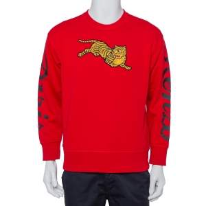 Kenzo Red Cotton Knit Tiger Patch Sweatshirt S