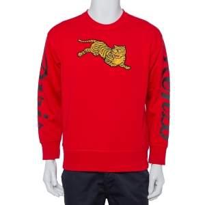 سويت شيرت كينزو قطن تريكو أحمر برقع مزينة مقاس صغير - سمول