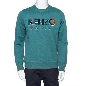 Kenzo Green Cotton Logo Embroidered Crewneck Sweatshirt S