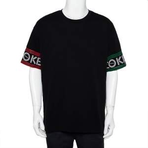 Kenzo Black Cotton Logo Printed Sleeve Detail Crewneck T-Shirt XXL