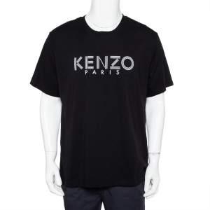 Kenzo Black Logo Printed Cotton Crewneck T-Shirt XL