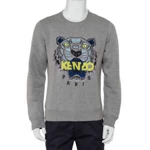 Kenzo Grey Cotton Tiger Embroidered Crewneck Sweatshirt L