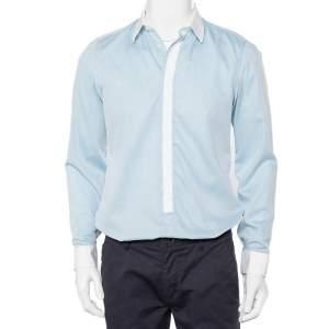 قميص كينزو قطن أزرق بحواف متباينة أزرار أمامية قصة سليم مقاس متوسط - ميديوم